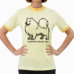 American Eskimo Dog Women s Fitted Ringer T Shirts by allthingseveryday
