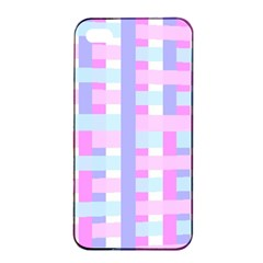 Gingham Nursery Baby Blue Pink Apple Iphone 4/4s Seamless Case (black) by BangZart