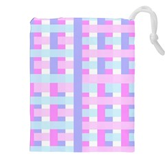Gingham Nursery Baby Blue Pink Drawstring Pouches (xxl)
