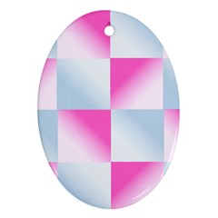 Gradient Blue Pink Geometric Ornament (oval) by BangZart
