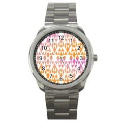 Geometric Abstract Orange Purple Sport Metal Watch by BangZart