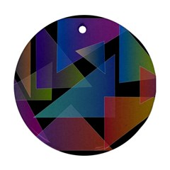 Triangle Gradient Abstract Geometry Round Ornament (two Sides)
