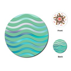 Abstract Digital Waves Background Playing Cards (round)