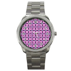 Pattern Pink Squares Square Texture Sport Metal Watch by BangZart
