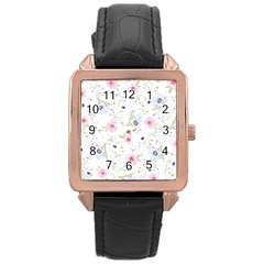 Floral Pattern Background Rose Gold Leather Watch  by BangZart