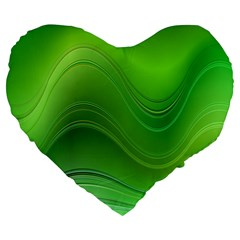 Green Wave Background Abstract Large 19  Premium Heart Shape Cushions by BangZart