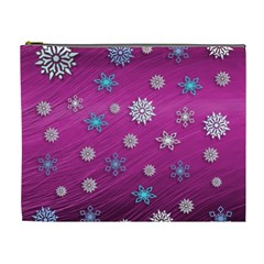 Snowflakes 3d Random Overlay Cosmetic Bag (xl) by BangZart
