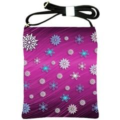 Snowflakes 3d Random Overlay Shoulder Sling Bags by BangZart