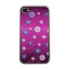Snowflakes 3d Random Overlay Apple Iphone 4 Case (clear) by BangZart