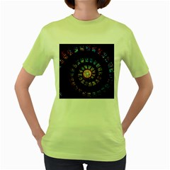 Stained Glass Spiral Circle Pattern Women s Green T Shirt