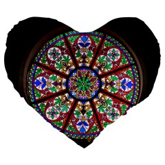 Church Window Window Rosette Large 19  Premium Heart Shape Cushions by BangZart