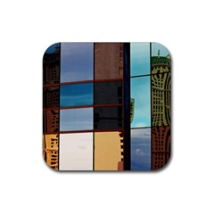 Glass Facade Colorful Architecture Rubber Square Coaster (4 Pack)  by BangZart