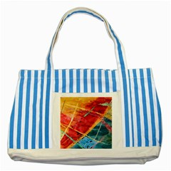 Painting Watercolor Wax Stains Red Striped Blue Tote Bag by BangZart