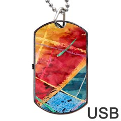Painting Watercolor Wax Stains Red Dog Tag Usb Flash (one Side) by BangZart