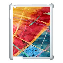 Painting Watercolor Wax Stains Red Apple Ipad 3/4 Case (white)