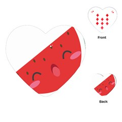 Watermelon Red Network Fruit Juicy Playing Cards (heart)  by BangZart