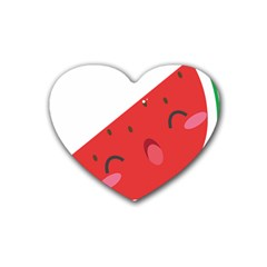 Watermelon Red Network Fruit Juicy Rubber Coaster (heart)  by BangZart