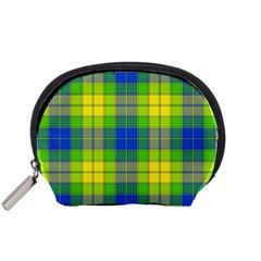 Spring Plaid Yellow Blue And Green Accessory Pouches (small)