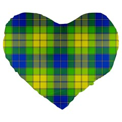 Spring Plaid Yellow Blue And Green Large 19  Premium Flano Heart Shape Cushions by BangZart