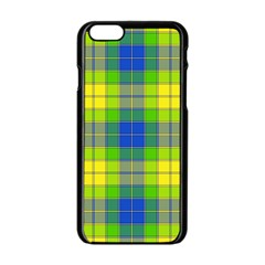 Spring Plaid Yellow Blue And Green Apple Iphone 6/6s Black Enamel Case by BangZart