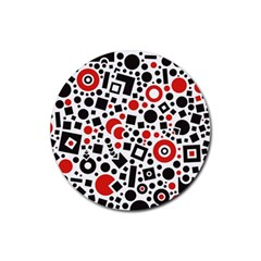 Square Objects Future Modern Rubber Round Coaster (4 Pack)  by BangZart