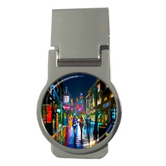 Abstract Vibrant Colour Cityscape Money Clips (round)