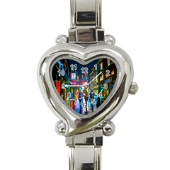 Abstract Vibrant Colour Cityscape Heart Italian Charm Watch by BangZart