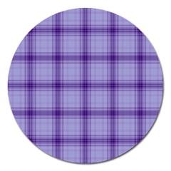 Purple Plaid Original Traditional Magnet 5  (round) by BangZart