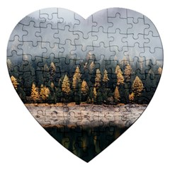Trees Plants Nature Forests Lake Jigsaw Puzzle (heart) by BangZart