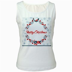 Merry Christmas Christmas Greeting Women s White Tank Top by BangZart