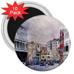 Venice Small Town Watercolor 3  Magnets (10 Pack)  by BangZart