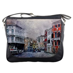 Venice Small Town Watercolor Messenger Bags by BangZart