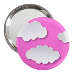 Clouds Sky Pink Comic Background 3  Handbag Mirrors