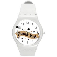 Thank You Lettering Thank You Ornament Banner Round Plastic Sport Watch (m) by BangZart