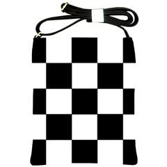 Grid Domino Bank And Black Shoulder Sling Bags by BangZart