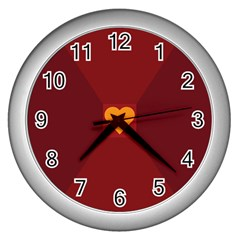 Heart Red Yellow Love Card Design Wall Clocks (silver)  by BangZart