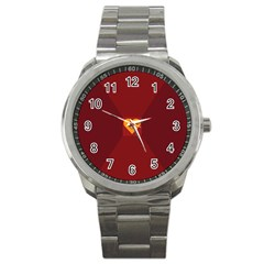 Heart Red Yellow Love Card Design Sport Metal Watch by BangZart