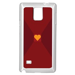 Heart Red Yellow Love Card Design Samsung Galaxy Note 4 Case (white) by BangZart
