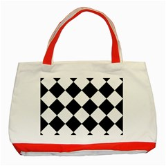 Grid Domino Bank And Black Classic Tote Bag (red) by BangZart
