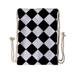 Grid Domino Bank And Black Drawstring Bag (small) by BangZart