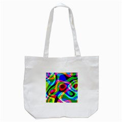 Digital Multicolor Colorful Curves Tote Bag (white)