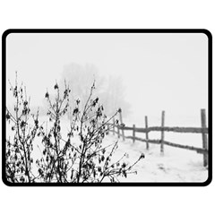 Snow Winter Cold Landscape Fence Double Sided Fleece Blanket (large)  by BangZart