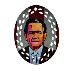 George W Bush Pop Art President Usa Oval Filigree Ornament (two Sides) by BangZart