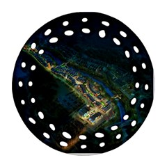 Commercial Street Night View Round Filigree Ornament (two Sides)