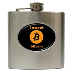 I Accept Bitcoin Hip Flask (6 Oz) by Valentinaart