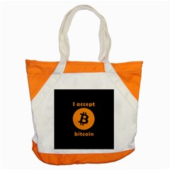 I Accept Bitcoin Accent Tote Bag by Valentinaart