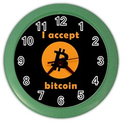 I Accept Bitcoin Color Wall Clocks by Valentinaart