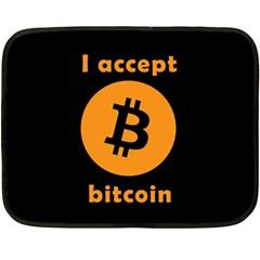 I Accept Bitcoin Double Sided Fleece Blanket (mini)  by Valentinaart