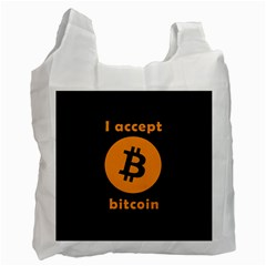 I Accept Bitcoin Recycle Bag (one Side) by Valentinaart