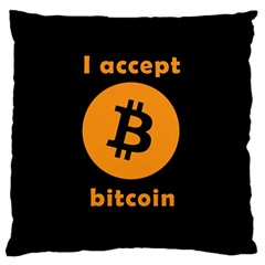 I Accept Bitcoin Large Cushion Case (two Sides) by Valentinaart